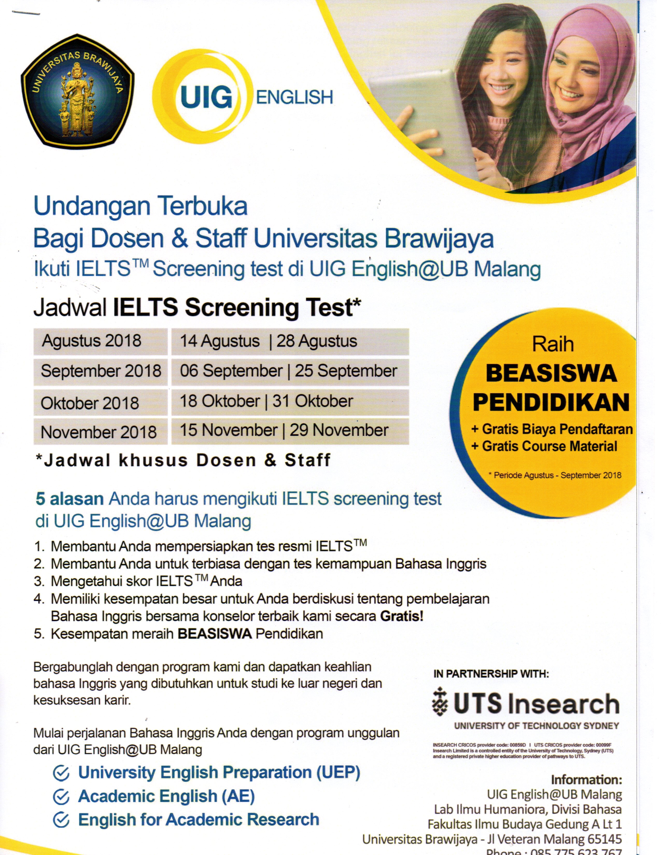 Invitation for IELTS Screening Test by UIG Brawijaya University