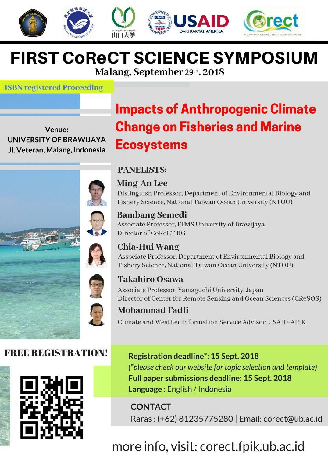"[EVENT} Seminar CORECT ""Impacts of Anthropogenic Climate Change on Fisheries and Marine Ecosystems"""