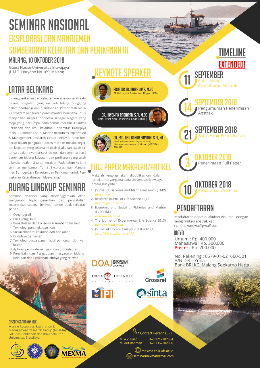 [EVENT] Seminar Nasional Eksplorasi dan Manajemen Sumberdaya Kelautan dan Perikanan III Oleh Kelompok Peneliti MEXMA