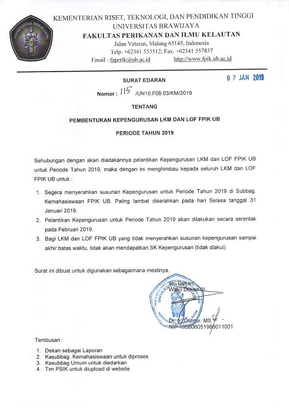 Surat Edaran Pembentukan Kepengurusan LKM dan LOF