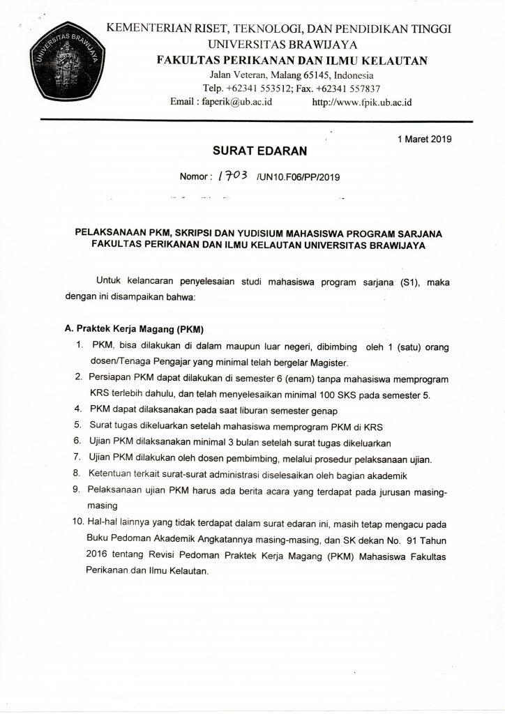 Surat Edaran Mengenai Pelaksanaan Pkm Skripsi Dan Yudisium Program Sarjana Fakultas Perikanan Dan Ilmu Kelautan